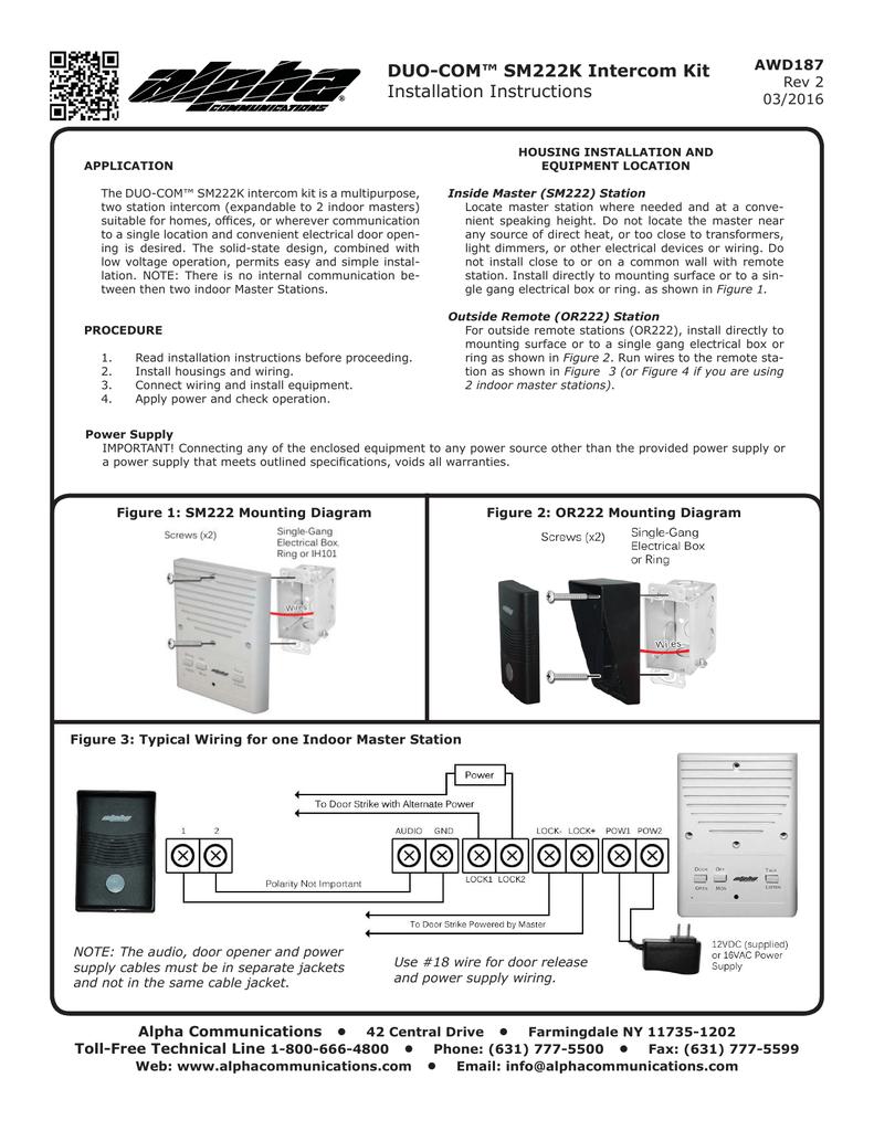 Duo Com Sm222k Intercom Kit Installation Instructions Wiring 4 Plug Box