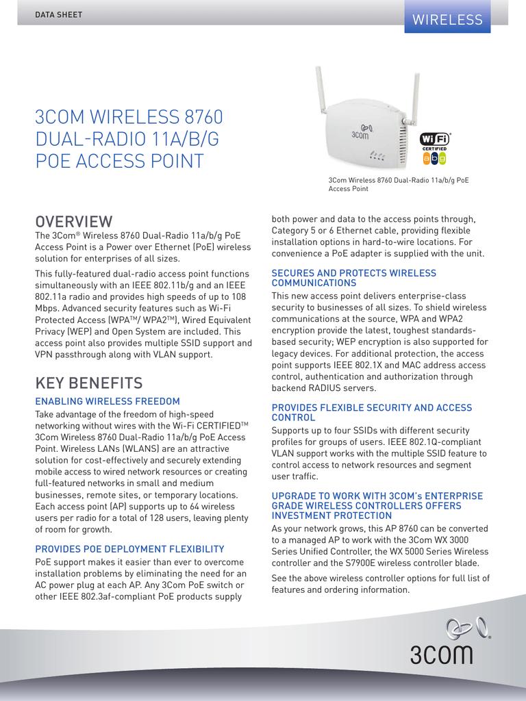 3Com Wireless 8760 Dual-Radio 11a/b/g PoE Access Point
