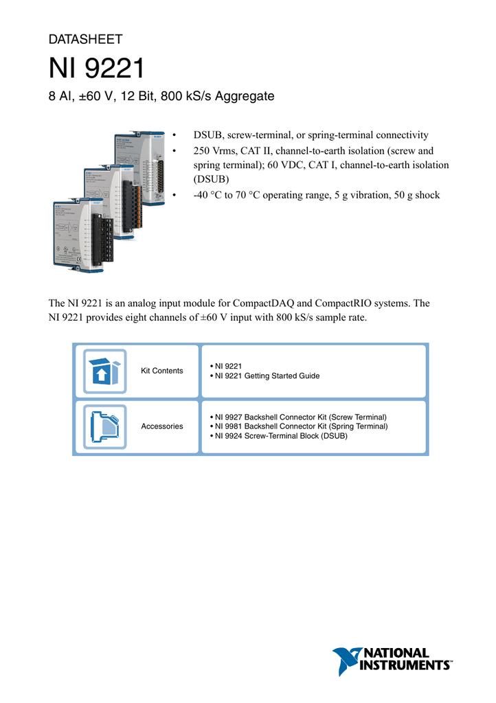 NI 9221 Datasheet - National Instruments | manualzz com