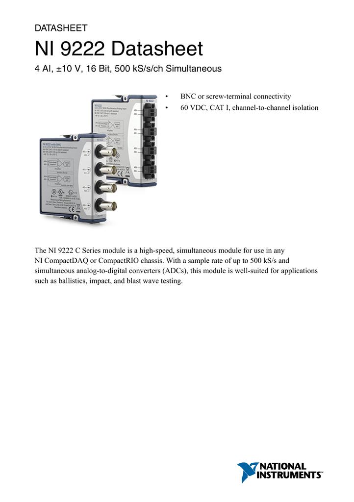 National Instruments NI 9201 8-Channel ±10V 12-Bit Analog Input Module