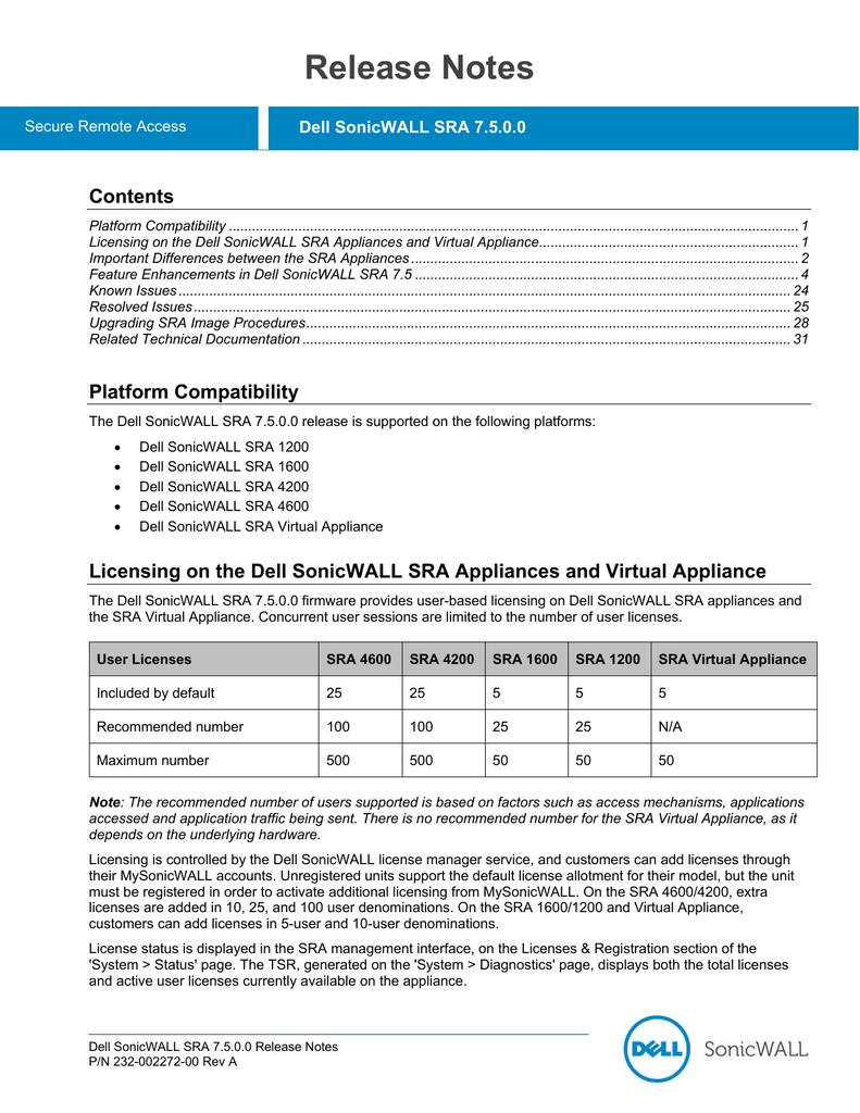 Dell SonicWALL SRA 7 5 0 0 Release Notes | manualzz com