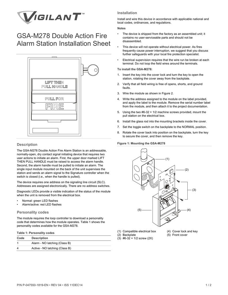 GSA-M278 Double Action Fire Alarm Station Installation Sheet ...
