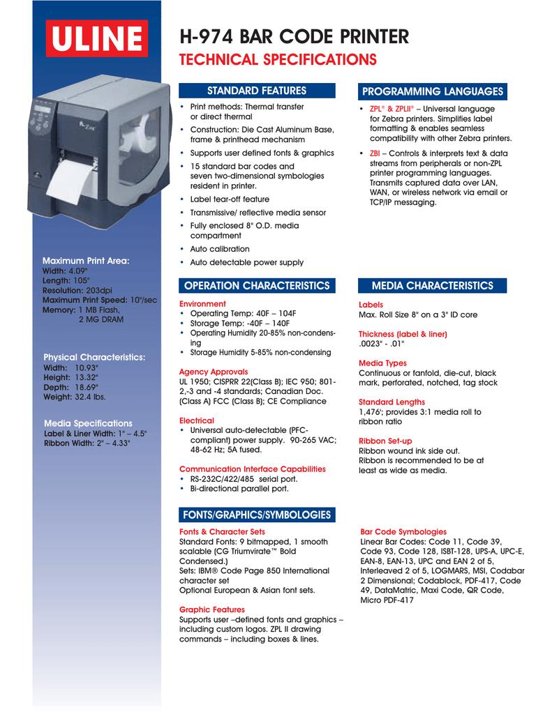 H-974 Bar Code Printer Specs   manualzz com