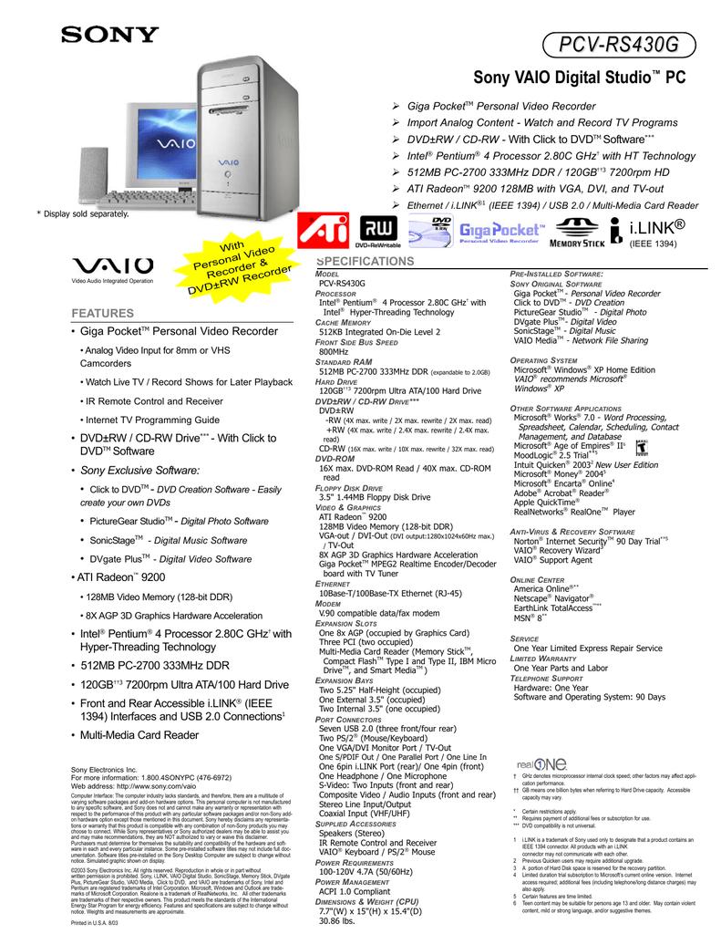 PCV-RS430G DRIVER FOR WINDOWS MAC