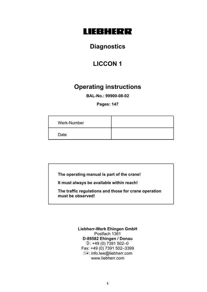 LIEBHERR Diagnostics LICCON 1 Operating instructions | manualzz com