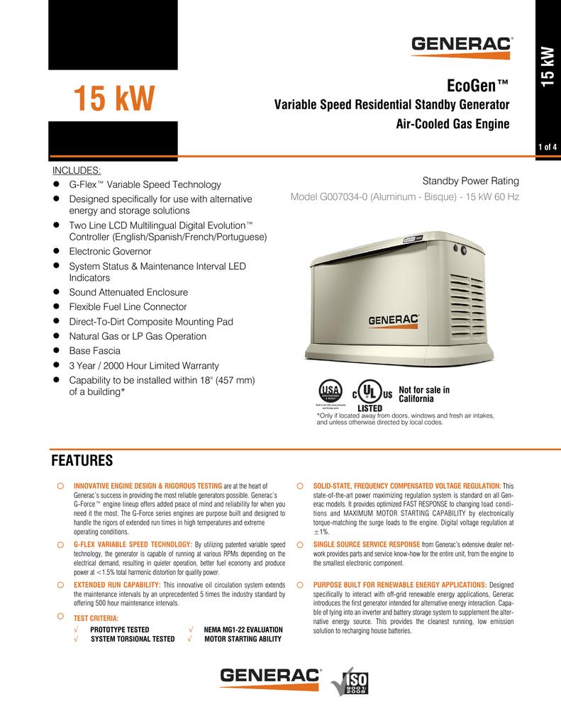 Generac Ecogen 15kW | manualzz com