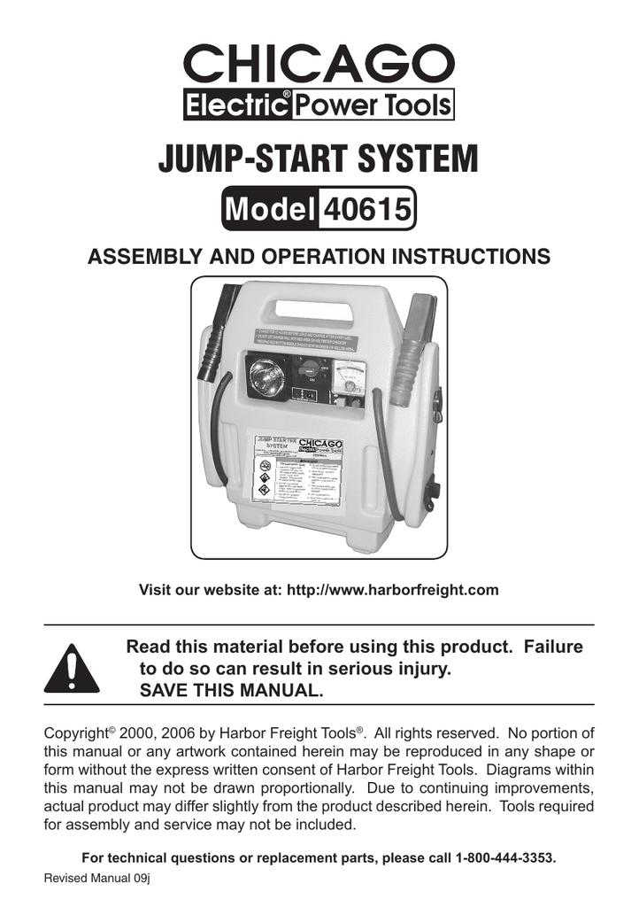 Jump-start system - Harbor Freight Tools | manualzz.com on