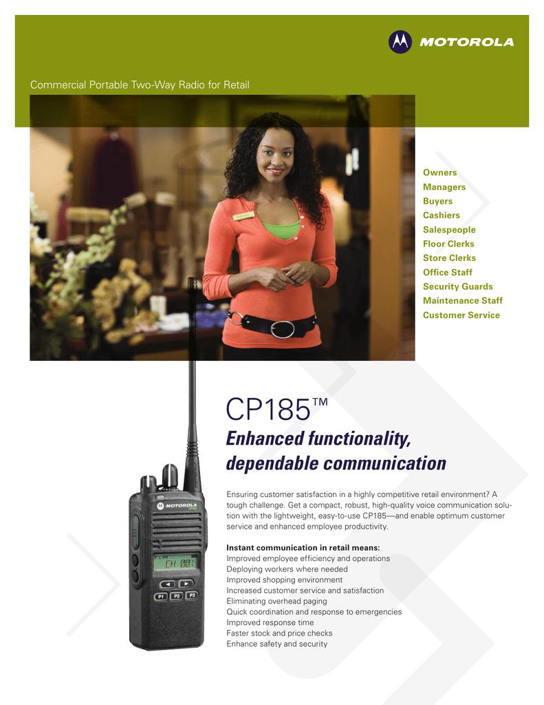 Motorola CP185 Brochure for Retail | manualzz com
