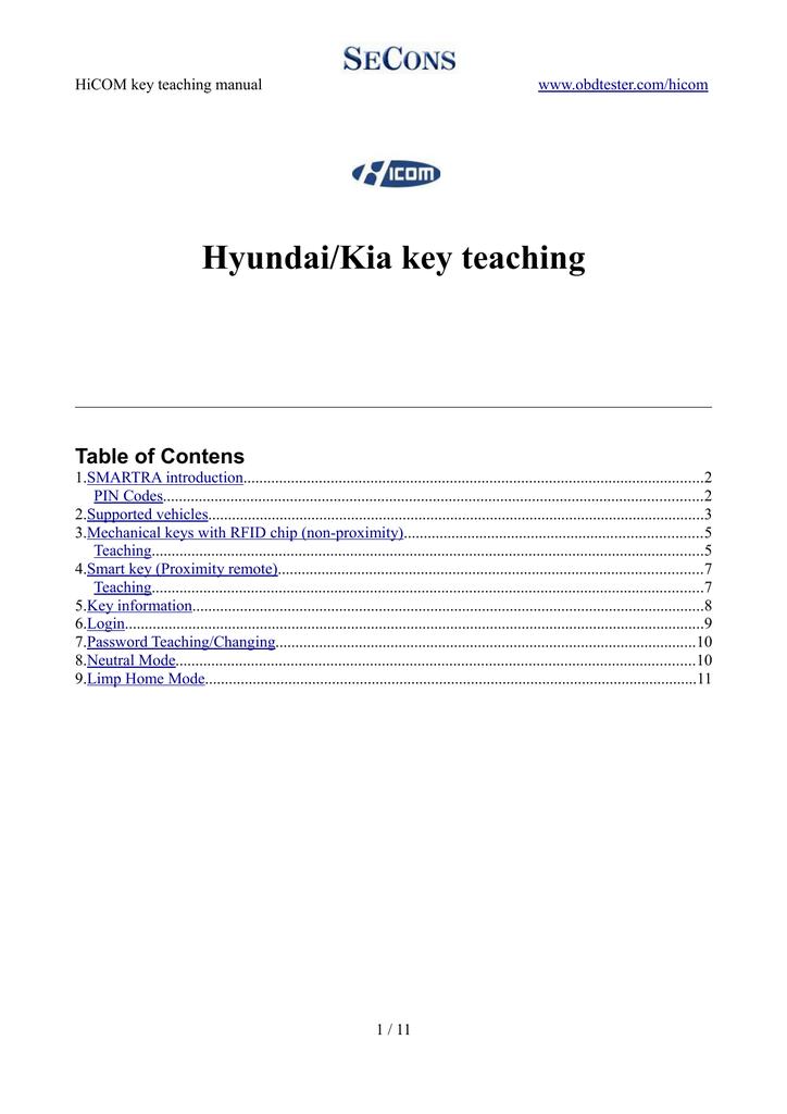 Hyundai/Kia key teaching - auto | manualzz com