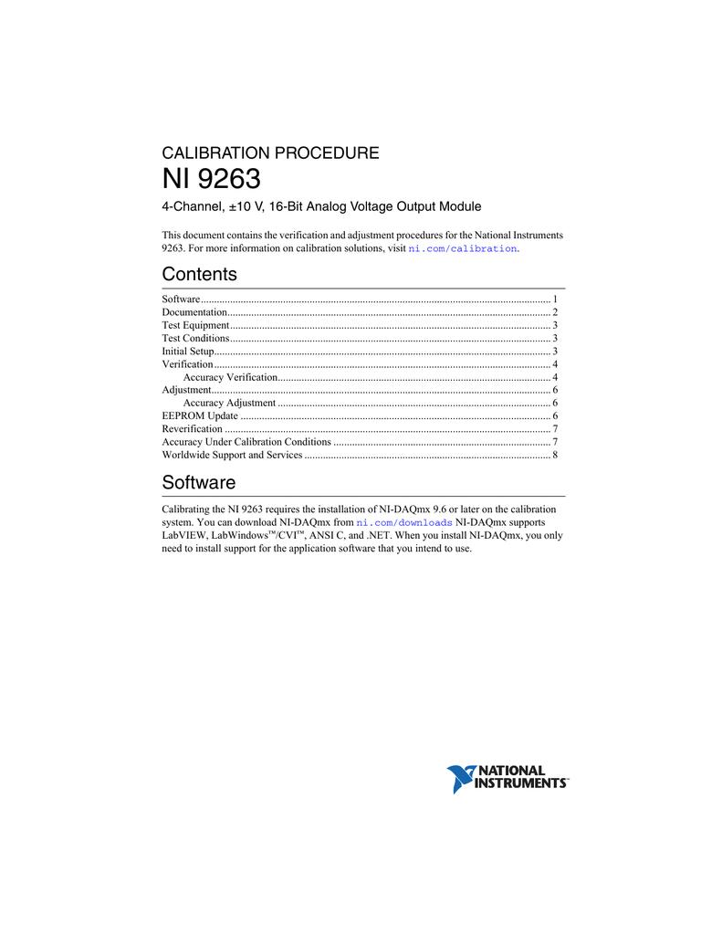 NI 9263 Calibration Procedure | manualzz com
