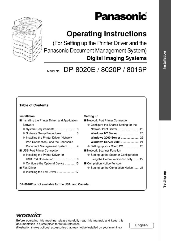 DP-8016P TÉLÉCHARGER DRIVER PANASONIC