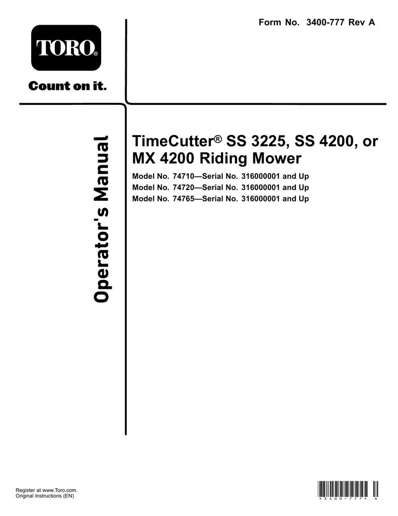 TimeCutter® SS 3225, SS 4200, or MX 4200 Riding Mower