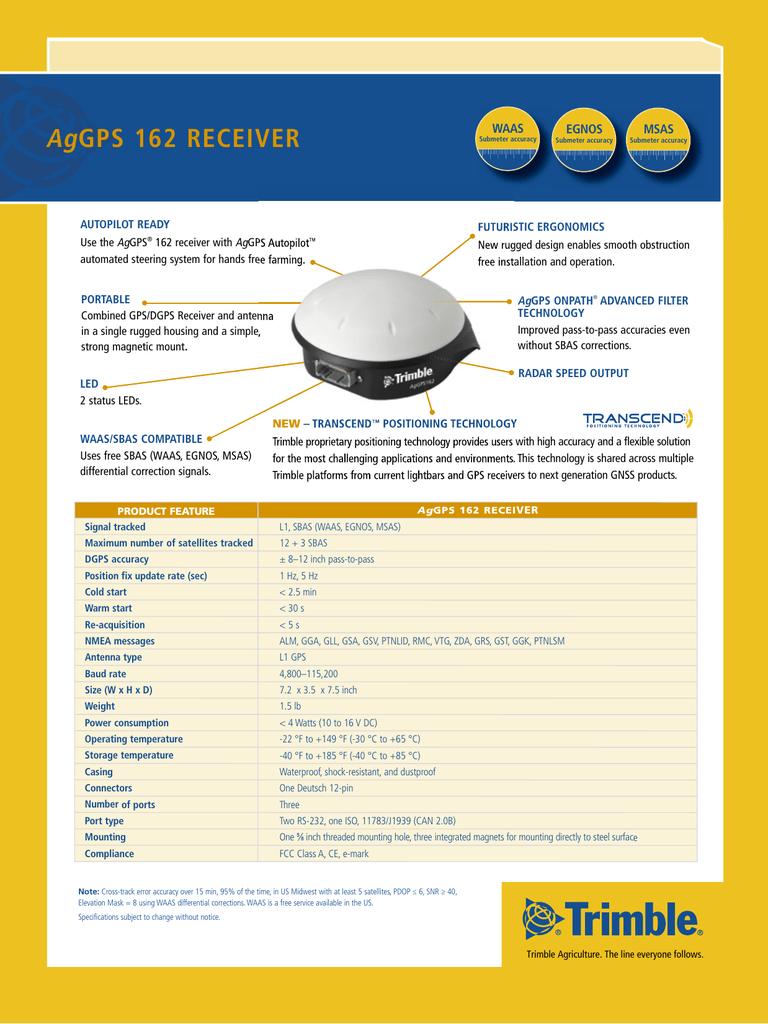AgGPS 162 / 262 Receiver Factsheet | manualzz com