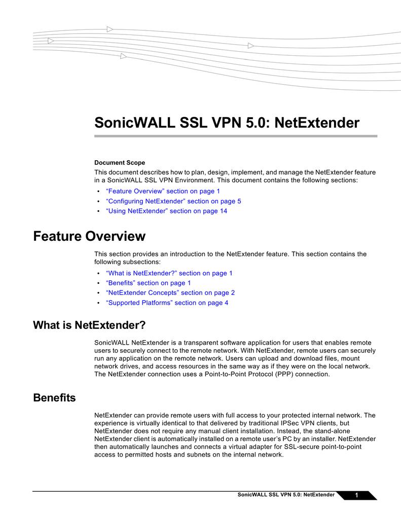 SonicWALL SSL VPN 5 0: NetExtender | manualzz com