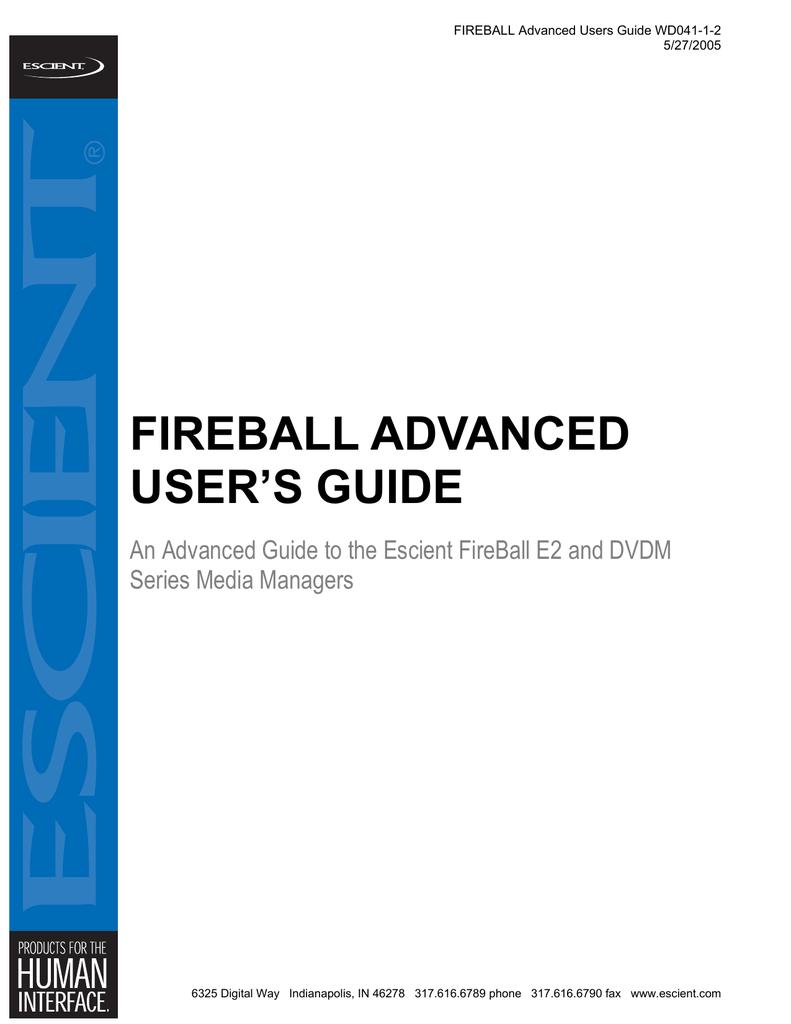 FIREBALL ADVANCED USER`S GUIDE | manualzz com