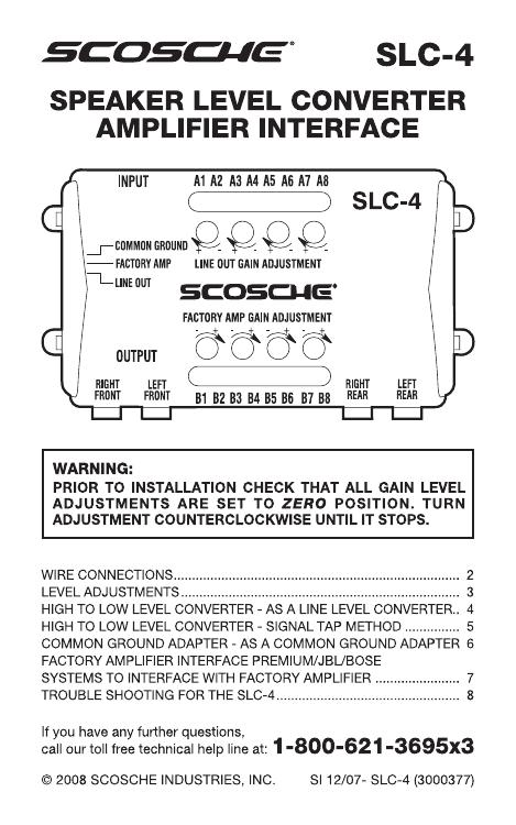 scosche slc4 user manual  manualzz