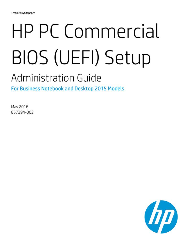 HP PC Commercial BIOS (UEFI) Setup | manualzz com