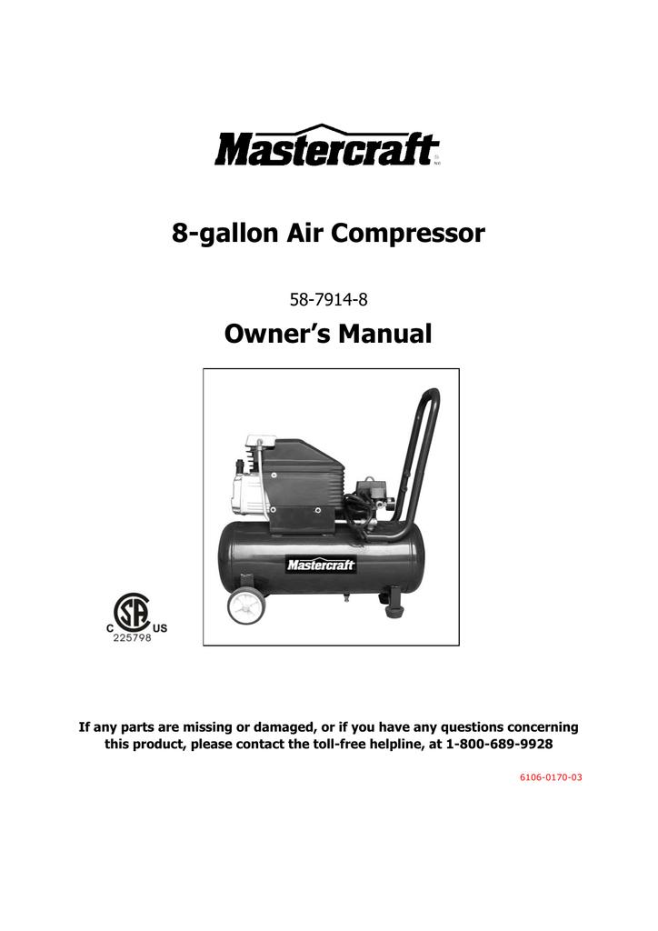 Kobalt 8 Gal Air Compressor Manual Guide