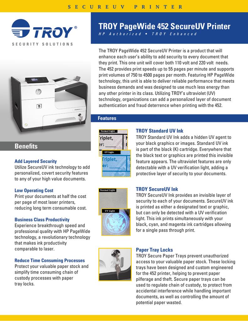 troy pagewide 452 secureuv printer
