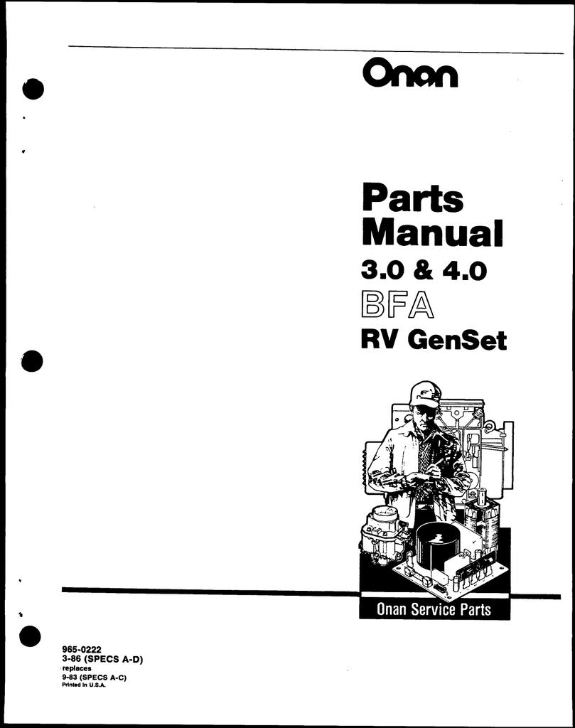 Onan 965-0222 BFA 3.0-4.0 Parts. | manualzz.com on