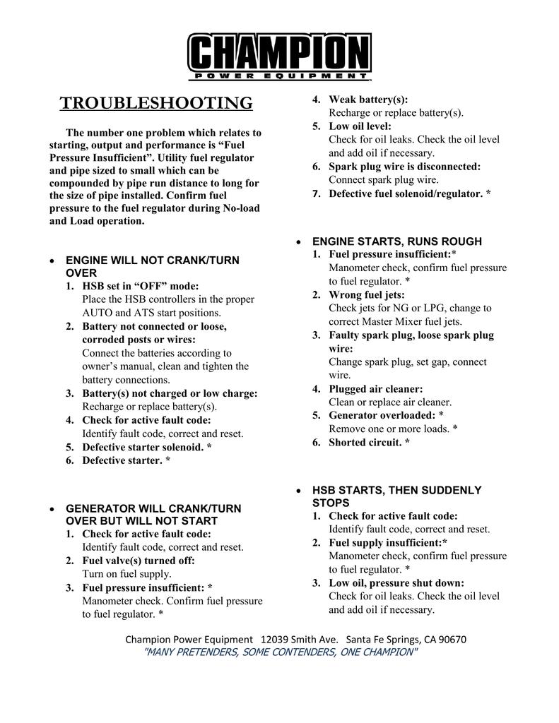 troubleshooting - Champion Power Equipment   manualzz com