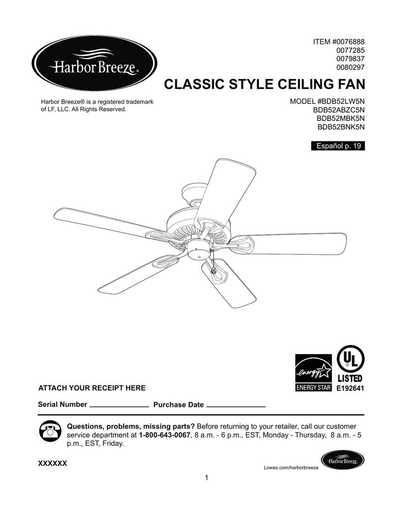 CLASSIC STYLE CEILING FAN | Manualzzmanualzz