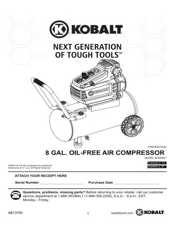 KO 8gal Manual EN(P1-4).pdf. Kobalt 0300842 | KO 8gal Manual EN(P1 ...