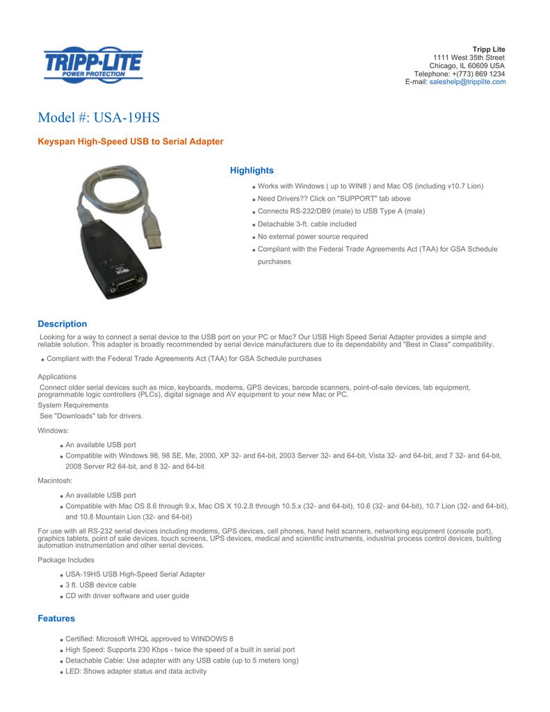 keyspan usb 4 port serial adapter driver windows 7