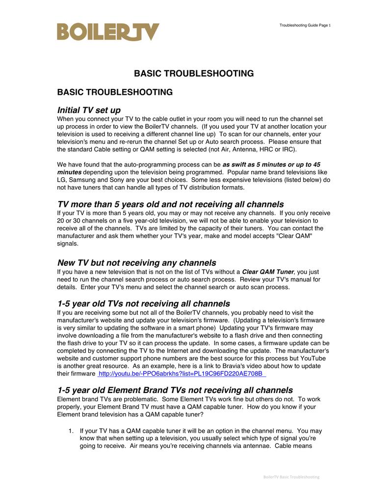 BASIC TROUBLESHOOTING BASIC TROUBLESHOOTING Initial TV | manualzz com