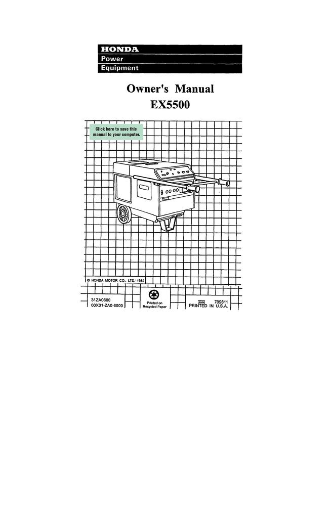 honda ex5500 wiring diagram owner s manual ex5500 manualzz  owner s manual ex5500 manualzz