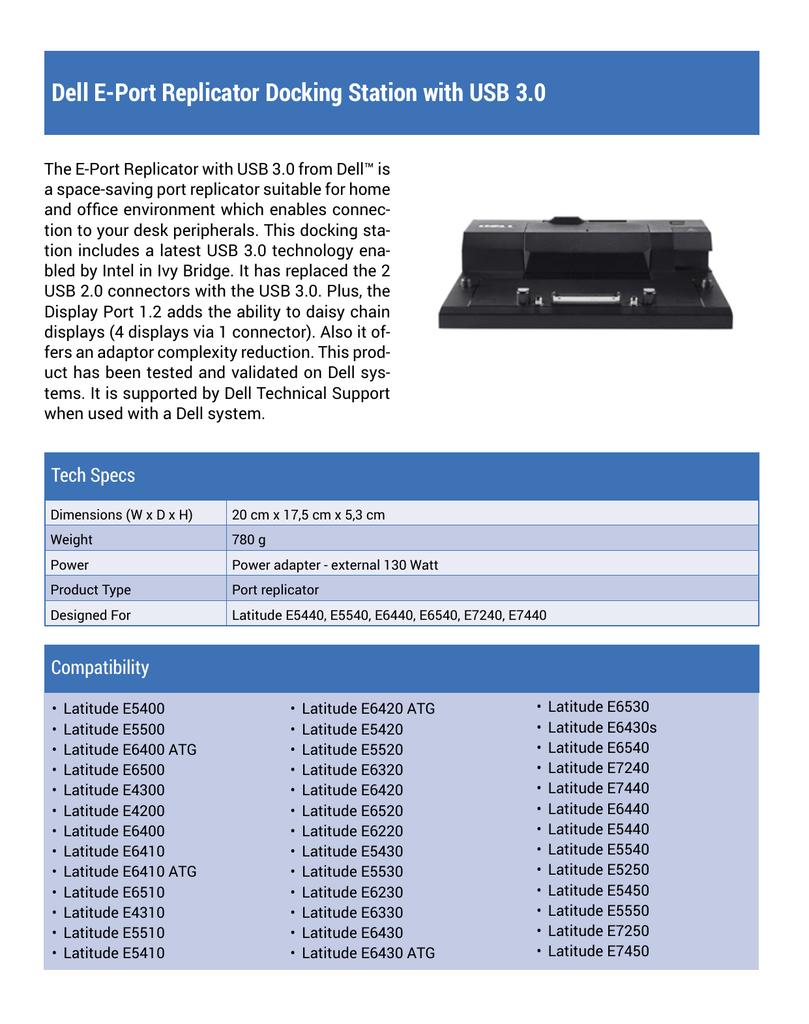 DELL Latitude E6520 E6420 E5520 E5420 E-PORT PLUS Dock Replicator Station 130W