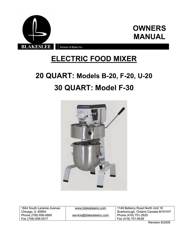 Electric Food Mixer Owners Manual 30 Quart Model F Dough Wiring Diagram