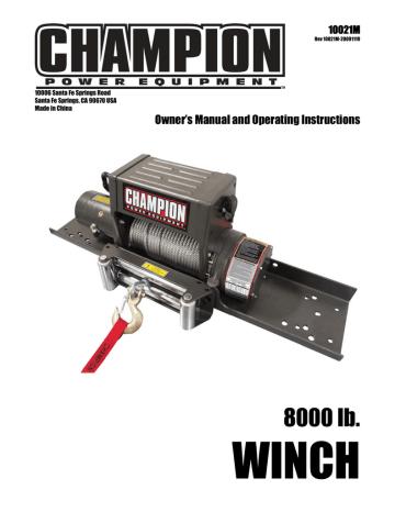 Champion Power Equipment 10021 Manual, Champion Winch Wiring Diagram