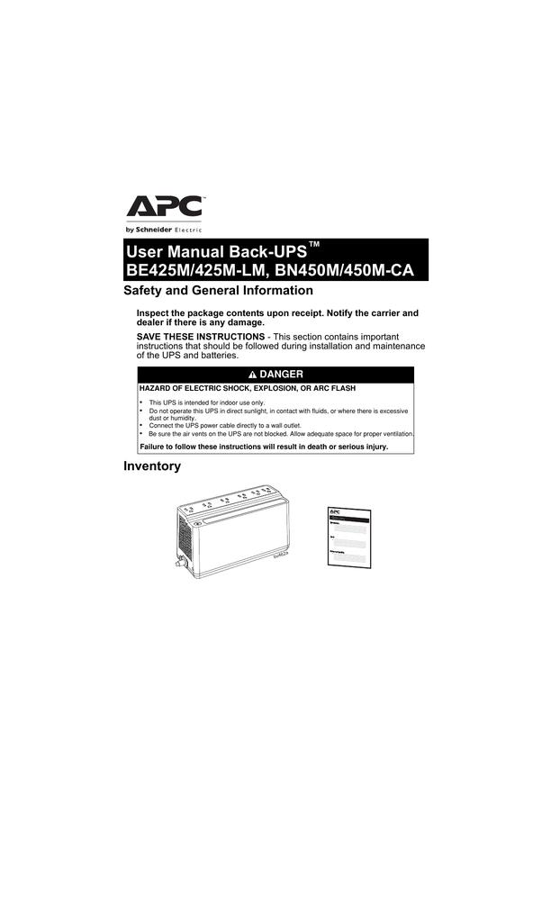Back-UPS BE425M/425M-LM, BN450M/450M-CA | manualzz com