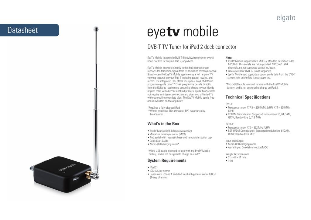 EyeTV Mobile Datasheet | manualzz com