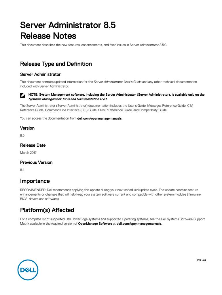 Server Administrator 8 5 Release Notes | manualzz com