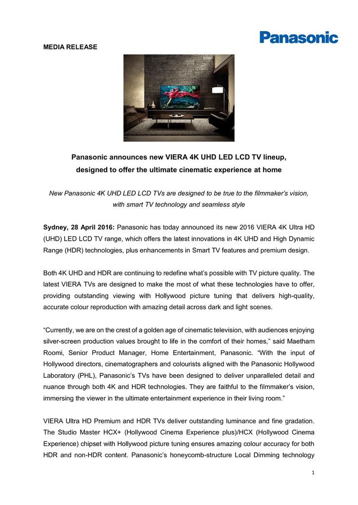 Panasonic announces new VIERA 4K UHD LED LCD TV lineup