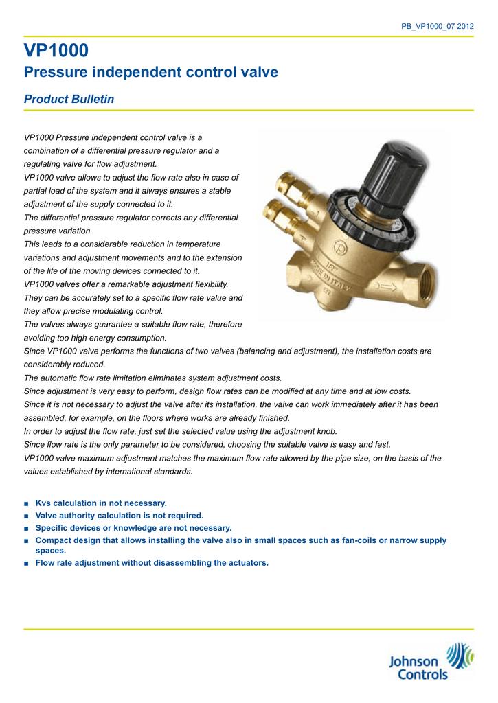 VP1000 Pressure independent control valve   manualzz com