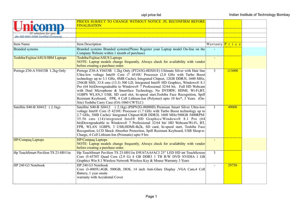 uipl general price list jan 2016 | manualzz com