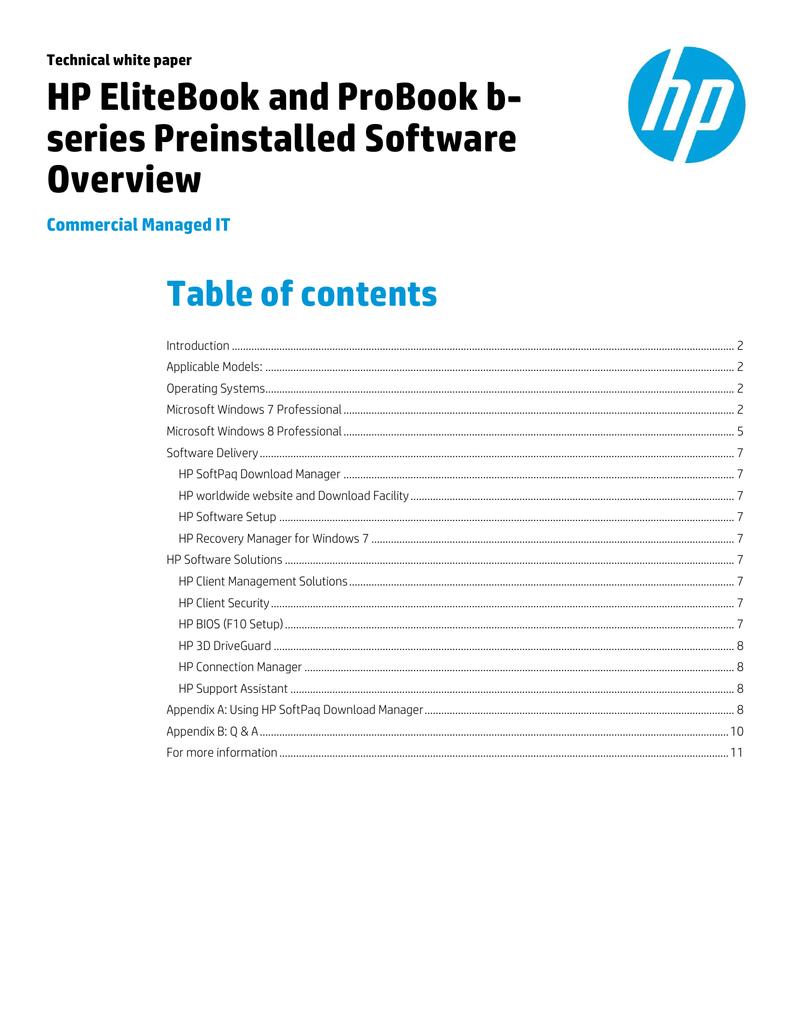 HP EliteBook and ProBook b- series Preinstalled Software Overview