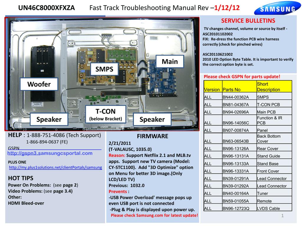 UN46C8000XFXZA Fast Track Troubleshooting Manual Rev | manualzz com