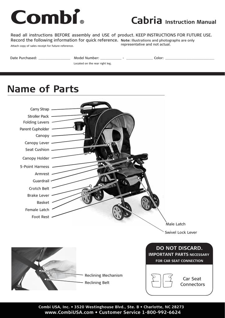 Combi 2482 Cabria Stroller Instruction, Combi Shuttle Infant Car Seat Manual
