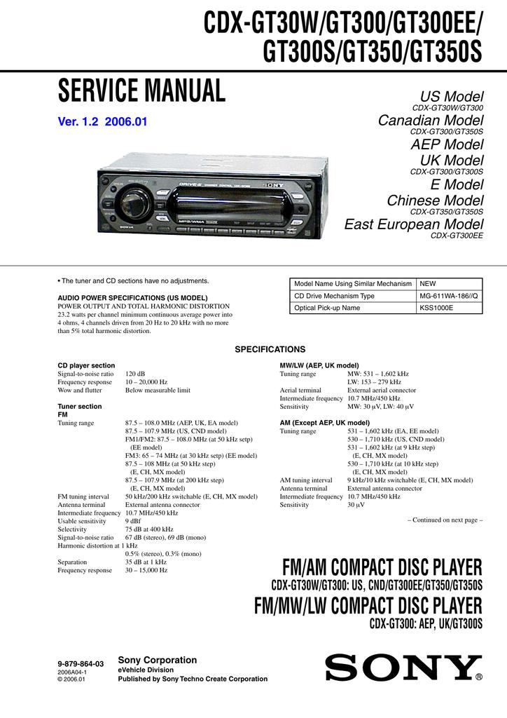 Cdx Gt30w Gt300 Gt300ee Gt300s Gt350