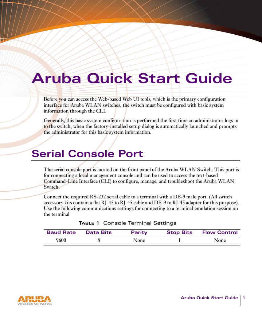 Aruba Quick Start Guide - Support Aruba Networks   manualzz com