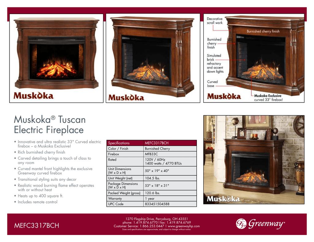 Muskoka Tuscan Electric Fireplace Manualzz Com