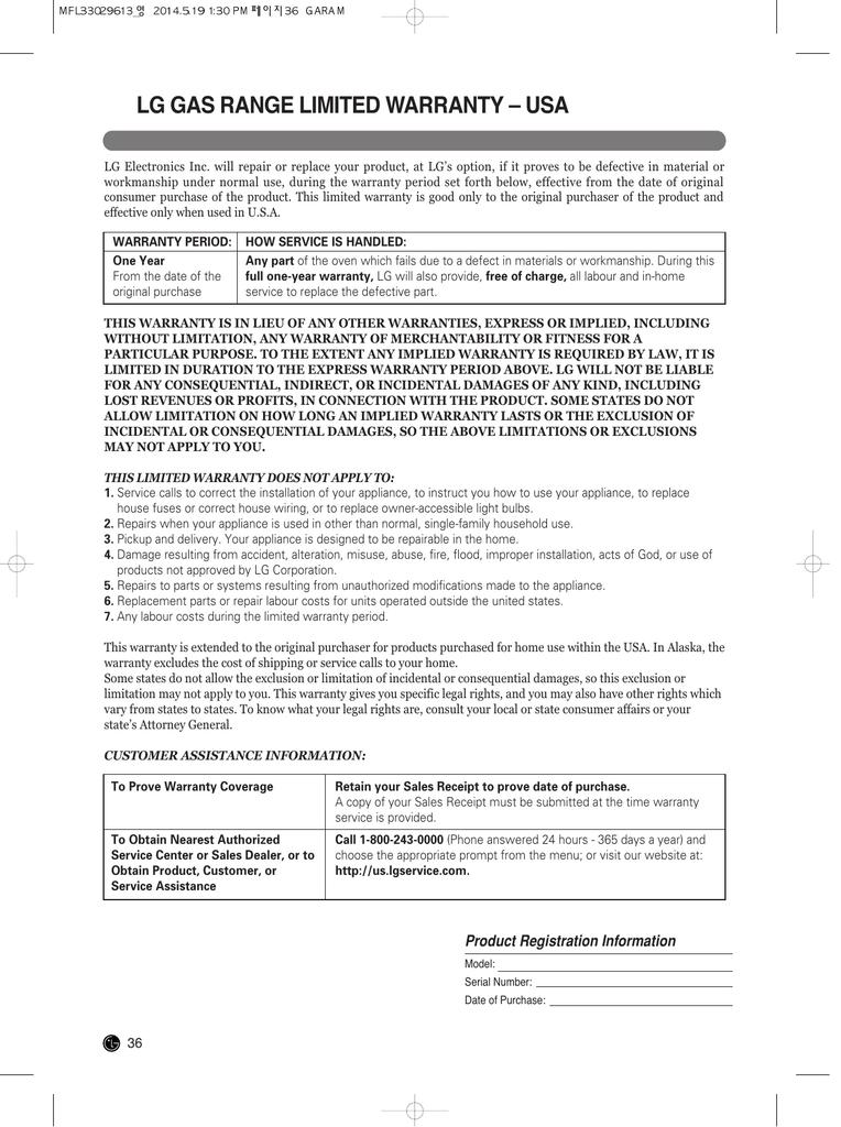 Lg Gas Range Limited Warranty Usa Manualzz