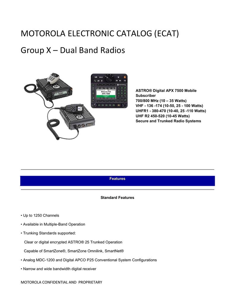 MOTOROLA ELECTRONIC CATALOG (ECAT) Group X – Dual Band