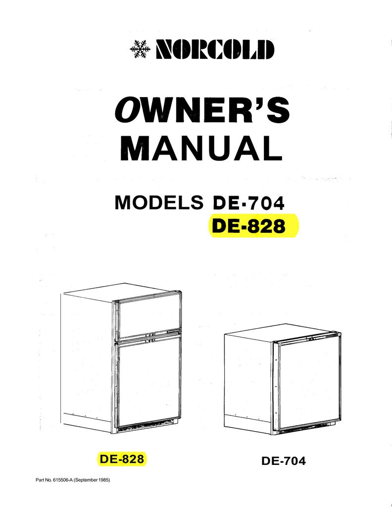 Norcold De828 Refrigerator Manual Ac Dc Schematics