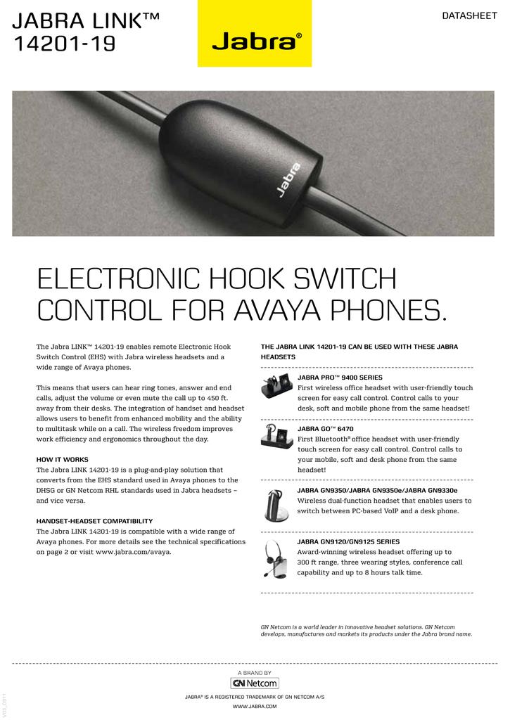 ELECTRONIC HOOK SWITCH CONTROL FOR AVAYA PHONES    manualzz com