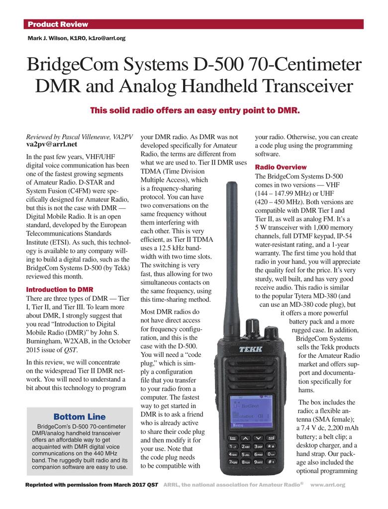 TEKK D-500 DMR HT review - VA2PV Blog Ham Radio Blog